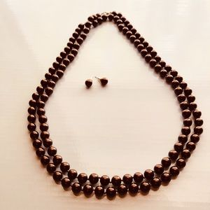 Jewelry - Chocolate Pearl double strand necklace & earrings